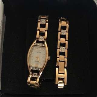 Gold Watch And Bracelet Set