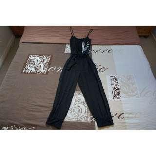 Wish 100% Silk Black Jumpsuit Size 8 RRP $149.95