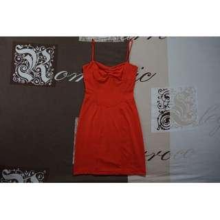 Kookai Tangerine Orange Bodycon Mini Dress Size 1 RRP $120.00