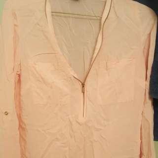 Suzy Sheer Light Pink Zip Up Long Sleeve Size Xs