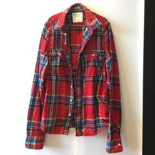 全新真品男仕A&F經典紅格紋棉質冬季長袖襯衫