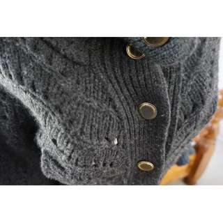 Armani Exchange Cropped Charcoal Grey Thick Knit Cardigan Size Small RRP US $180.00