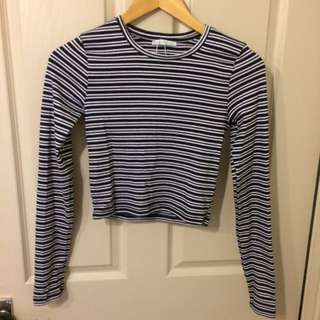Zara Long sleeve Stripey crop Top