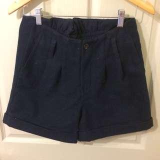 High Waisted Woollen Shorts