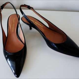 "Kurt Geiger, London: Black Patent Leather Courts ""Elfin"""