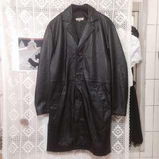 義大利黑色真皮古著大衣 二手美品 70s  Vetement Versace Gucci 可參考秋冬 羊皮