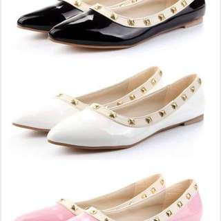 SMO Patent Leather Studded Flats