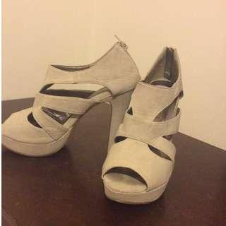 Cream Cut-Out High Heels