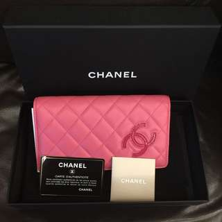 😍💓🎀🛍全新100%real 購至專門店hermes Chanel 粉紅色羊皮長銀包