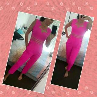 DROPPED TO $30 💥 💥 💥 Stunning UNIQUE Pink Long Playsuit. Size Small-medium, Stretch Material. $55