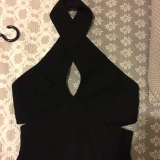 Shieke Cross Neck Black Dress