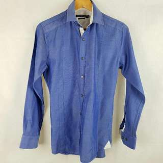 Connor Slim Fit Smart Casual Shirt Small Blue