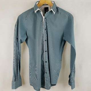 YD Smart Casual Slim Fit Shirt Blue Green Small