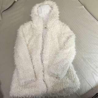 Long White Fluffy Jacket
