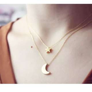 Golden Tone Crescent Moon Star Fine Chain Necklace