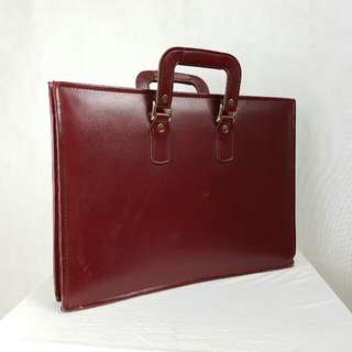Slim Briefcase Leather Red