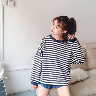 韓國寬鬆百搭BF學院條紋衛衣
