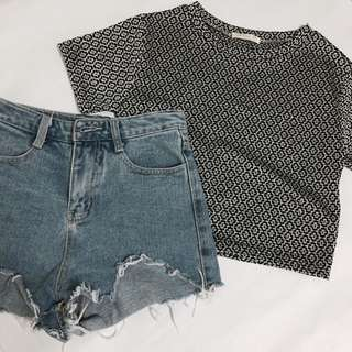 Basic Abstract Crop Top In Silver Black
