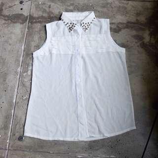 Sleeveless White Shirt w/ Studded Collar