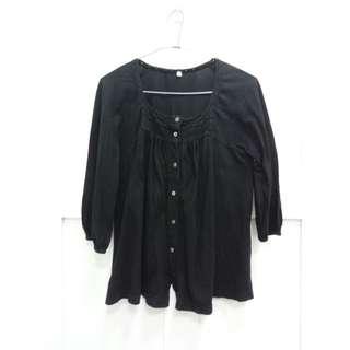 Muji 無印良品黑色棉質七分袖外套