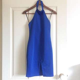Blue Halter High Beck Bodycon Dress