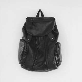 Black Leather Backpack Basic Drawstring