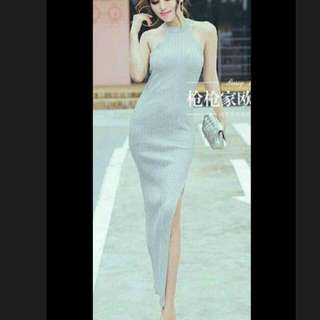 Knitted Maxi Dress W/side Slits