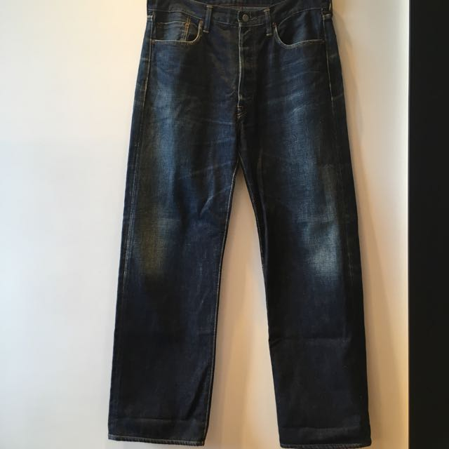 全新日本帶回45rpm真品刷色排扣牛仔褲