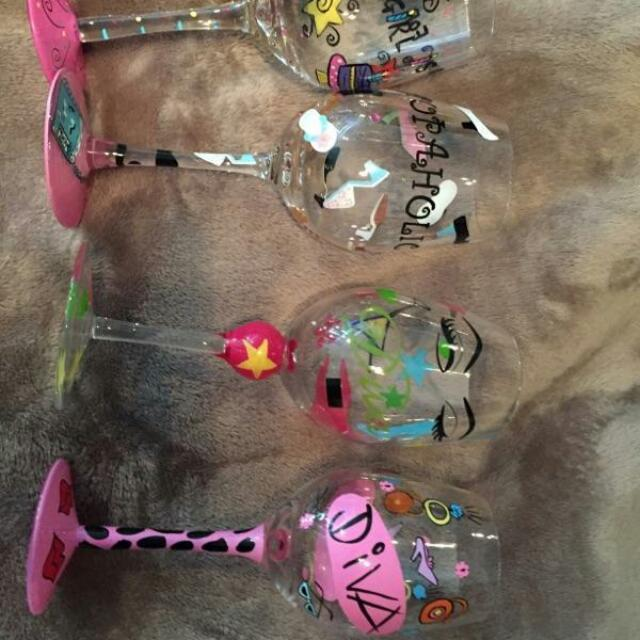 4 Painted Fancy Wine Glasses (Never Used )