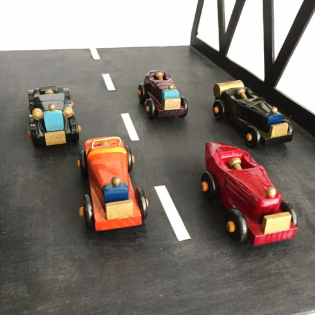 手繪經典木製骨董車模型。迷你敞篷賽車5入組。外銷歐洲款絕版商品