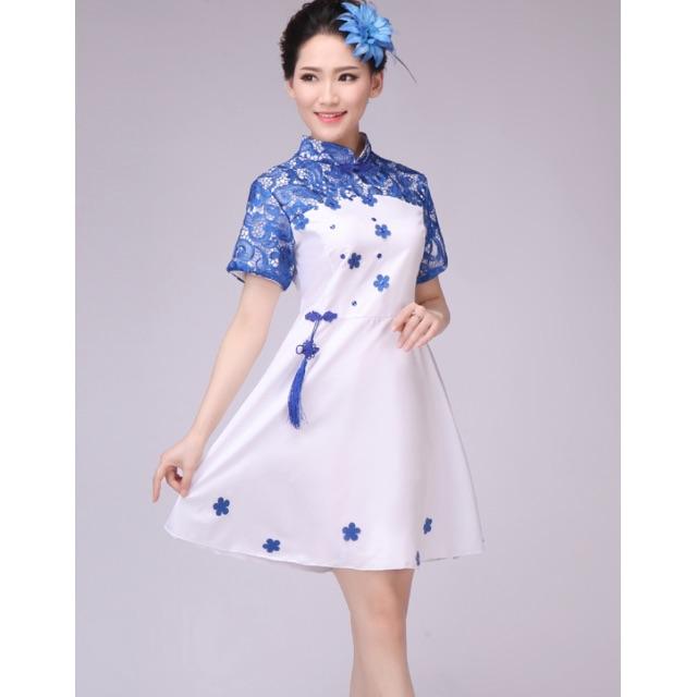 中式青花瓷系列短禮服