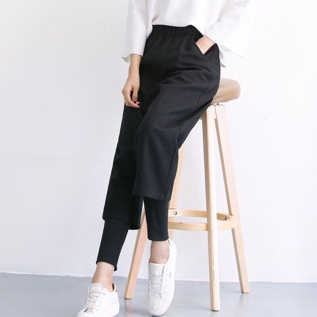 韓國寬鬆厚直毛呢闊腿七分褲假兩件九分褲