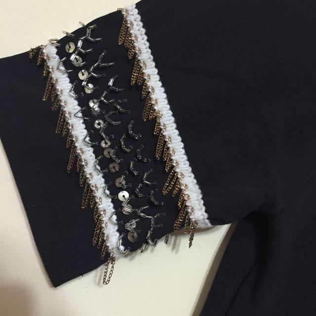 九成五新 黑色造型亮片珠珠帥氣洋裝