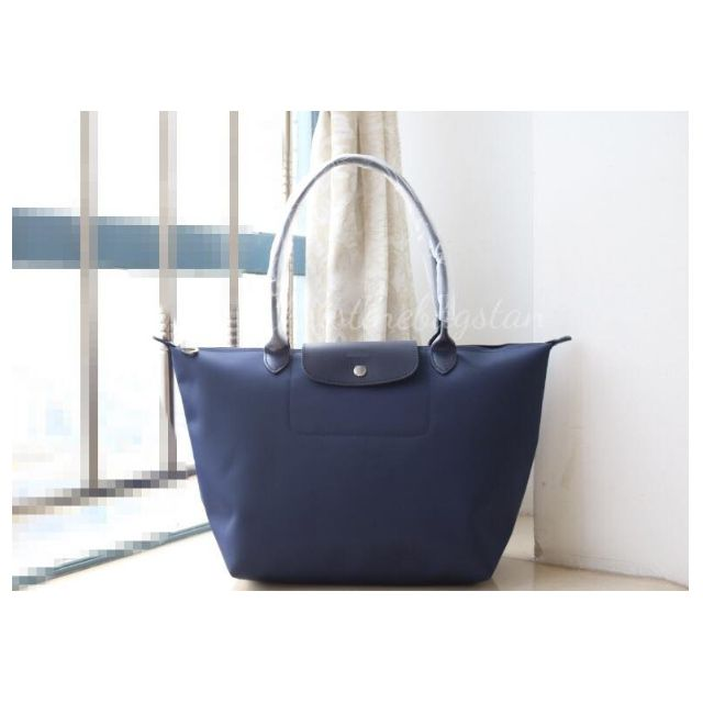 "Authentic Longchamp ""Planetes"" Large Long Handle Tote Bag Navy"