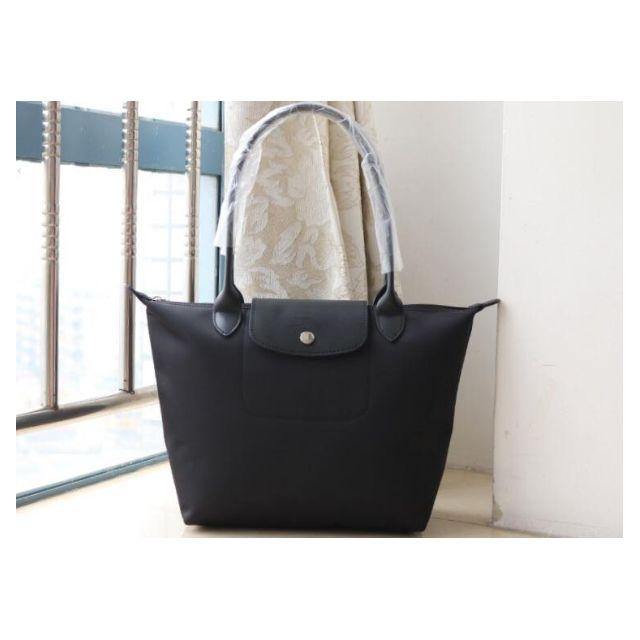 "Authentic Longchamp ""Planetes"" Medium Long Handle Tote Bag Black"