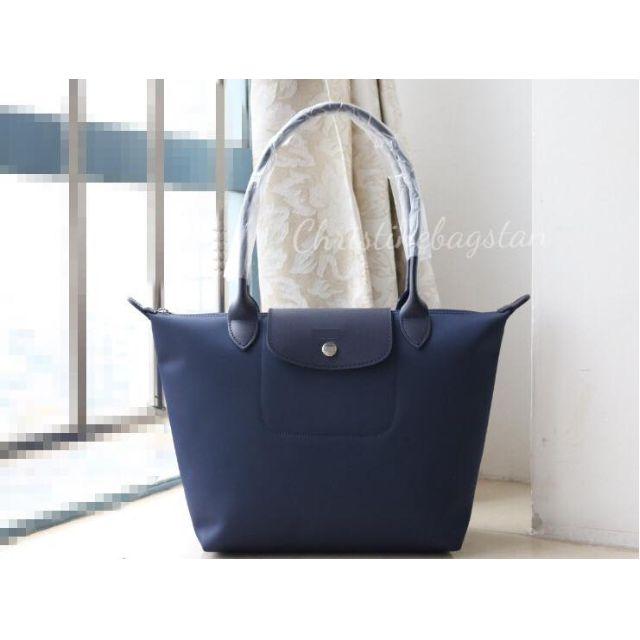 "Authentic Longchamp ""Planetes"" Medium Long Handle Tote Bag Navy"