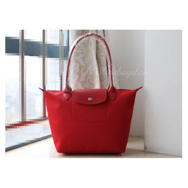 "Authentic Longchamp ""Planetes"" Medium Long Handle Tote Bag Red"