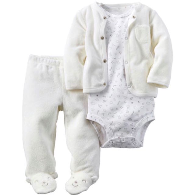 69a2f751b BN] Carter's Baby Girl 3-piece Babysoft Footed Pant Set, Babies ...