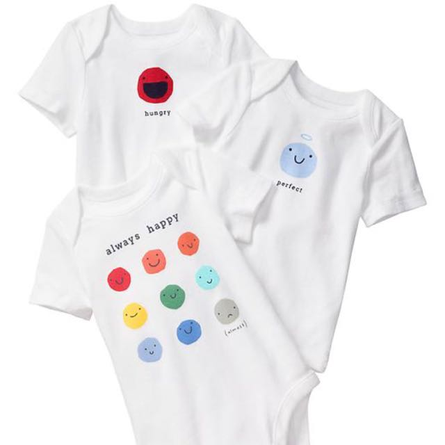 64f8eb203 NEW Gap Emoji Bodysuit (3-pack), Babies & Kids, Babies Apparel on ...