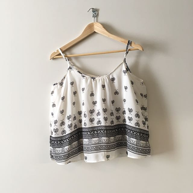 FACTORIE Black And White Printed Cami Top