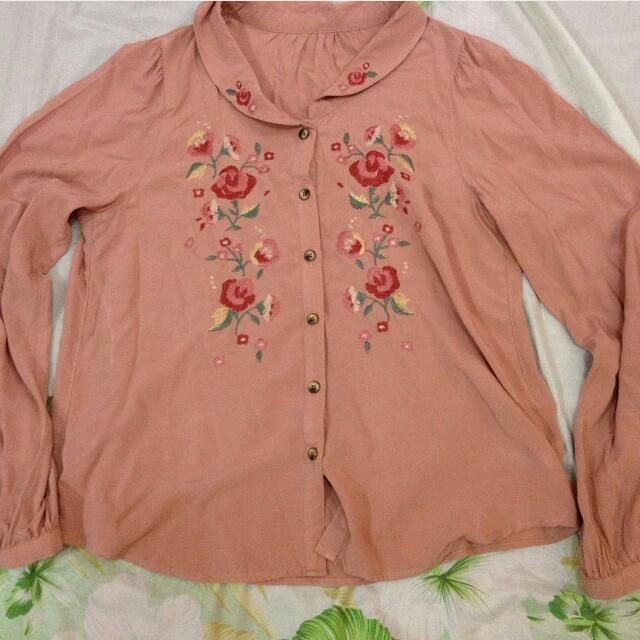 Floral Embroidered L/S