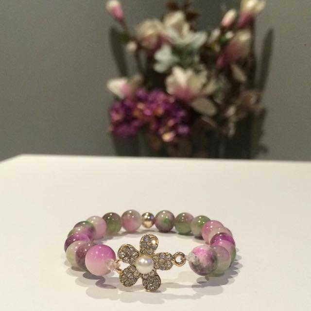 Floral Jade Bracelet W/ Sparkling Charm