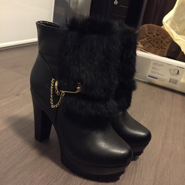 PRICE REDUCED Fur Ankle Boots Heels