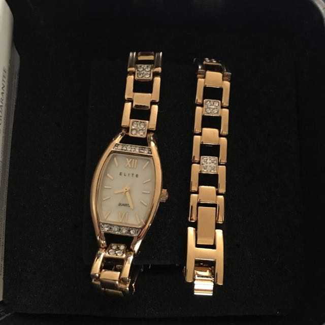 Gold Watch And Bracelet Set