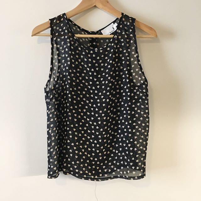 Heart Shaped Printed Chiffon Top