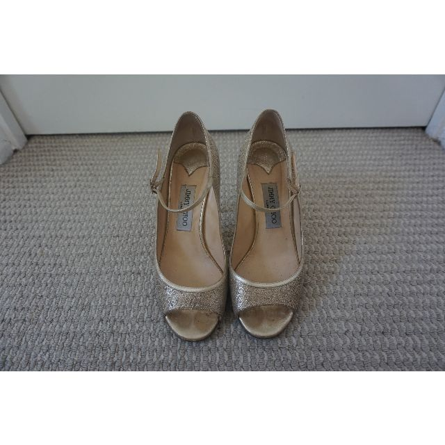 Jimmy Choo Champagne Gold Leather Mary Jane Peep Toe Heels Size 39 RRP $690.00