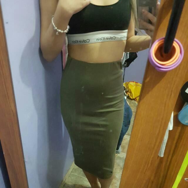 Khaki Midi Skirt