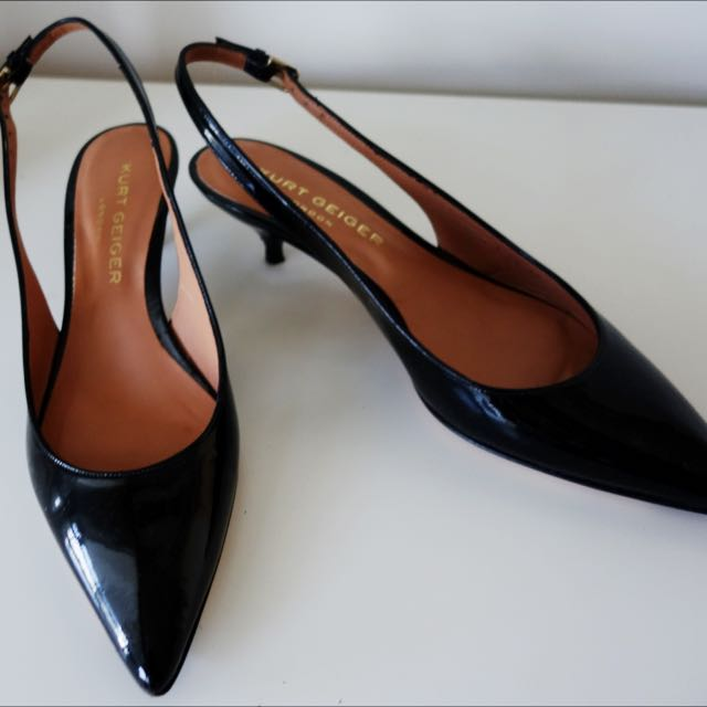 "Kurt Geiger, London: Black Patent Leather Courts ""Elfin"""