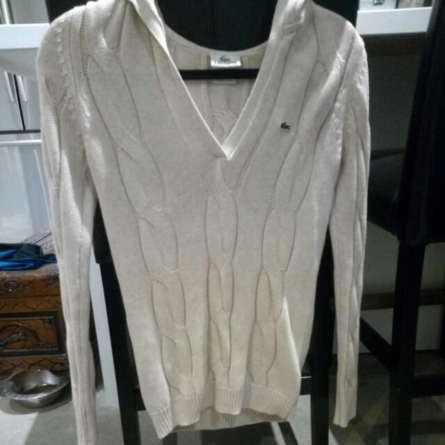 Lacoste Oatmeal Hoodie Size 36 (small?)