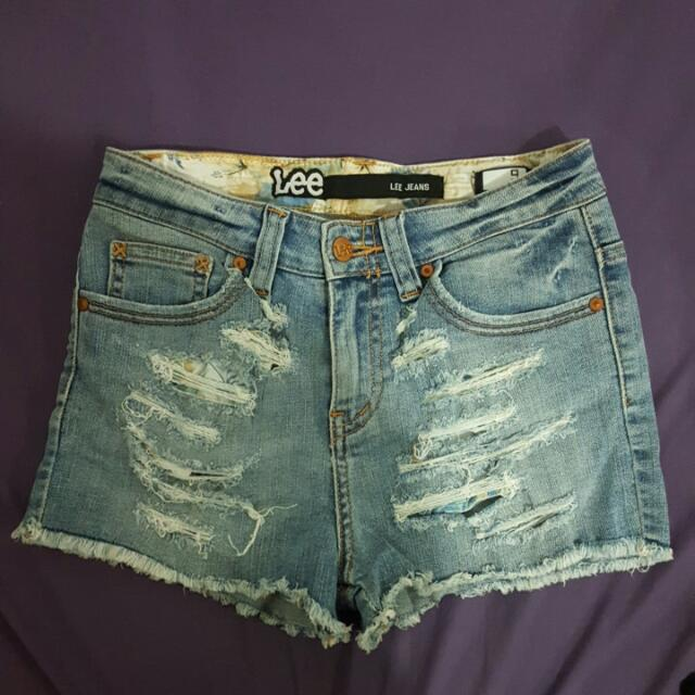 LEE Jeans: Highwaisted Distress Denim Shorts